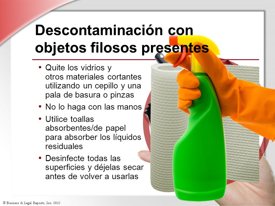 Descontaminación con objetos filosos presentes