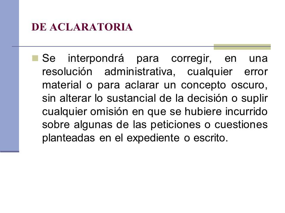 DE ACLARATORIA