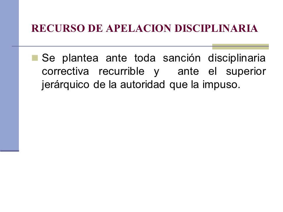 RECURSO DE APELACION DISCIPLINARIA
