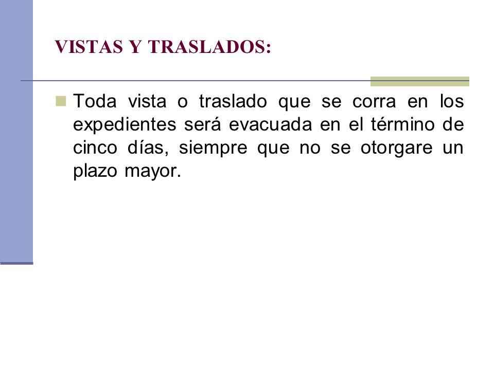 VISTAS Y TRASLADOS: