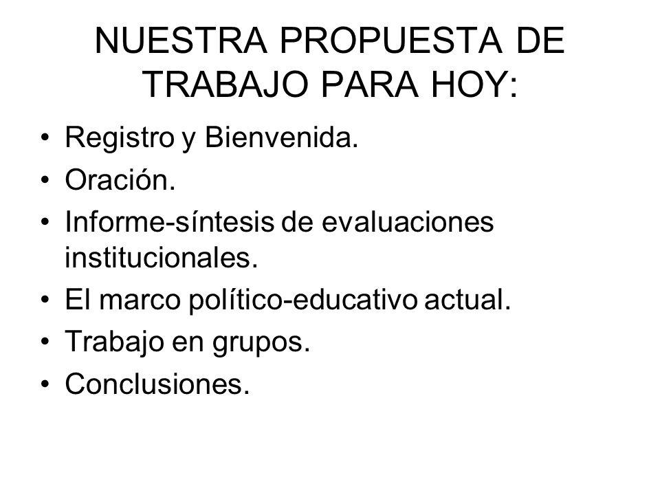 NUESTRA PROPUESTA DE TRABAJO PARA HOY: