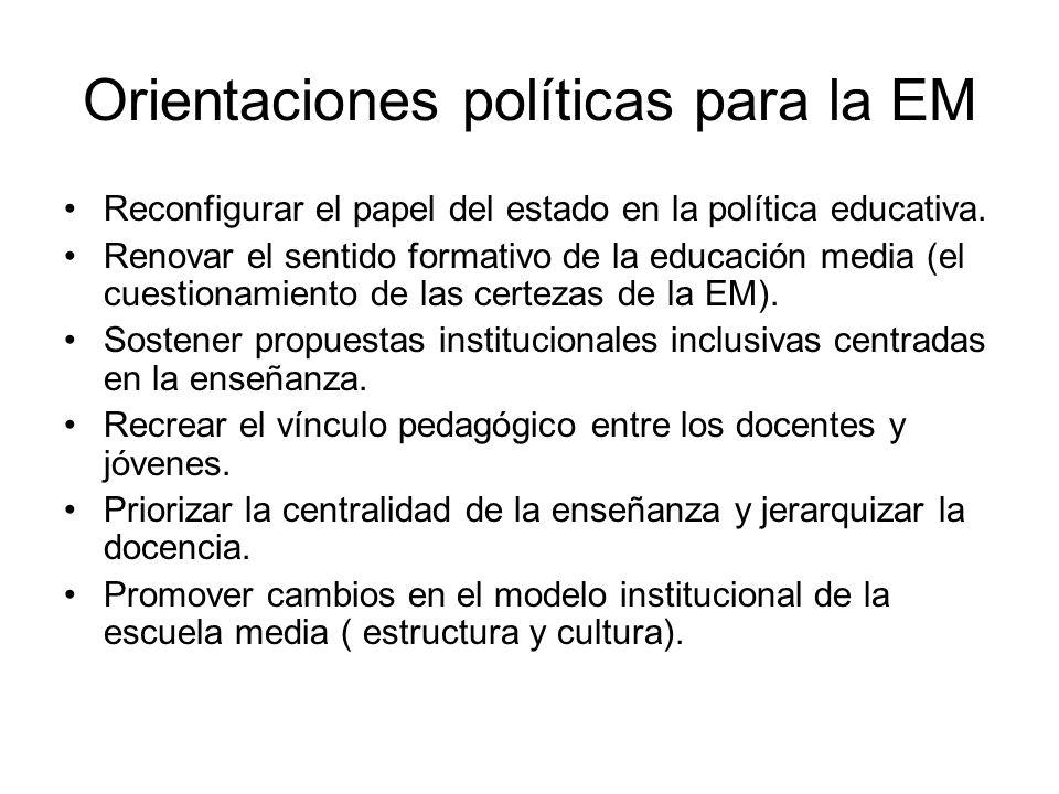 Orientaciones políticas para la EM