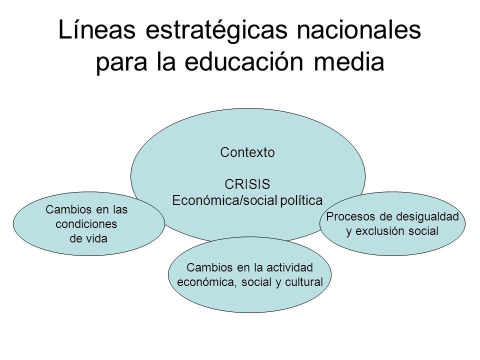 Líneas estratégicas nacionales para la educación media
