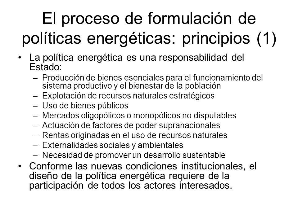El proceso de formulación de políticas energéticas: principios (1)