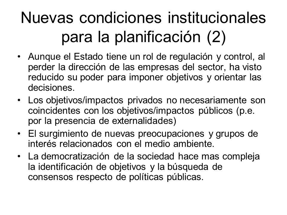Nuevas condiciones institucionales para la planificación (2)