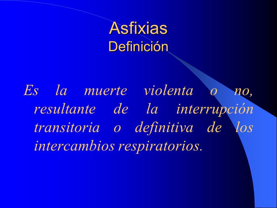 Asfixias Definición Es la muerte violenta o no, resultante de la interrupción transitoria o definitiva de los intercambios respiratorios.