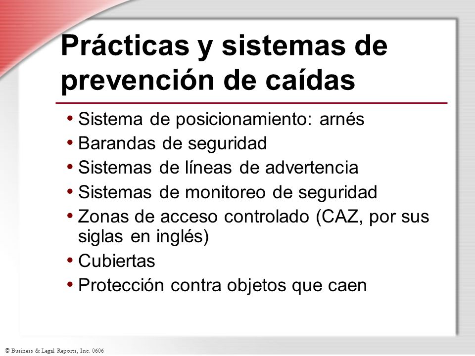 Prácticas y sistemas de prevención de caídas