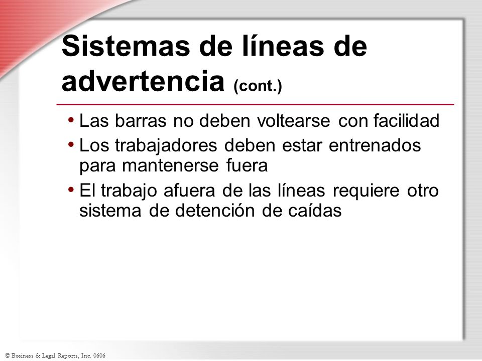 Sistemas de líneas de advertencia (cont.)