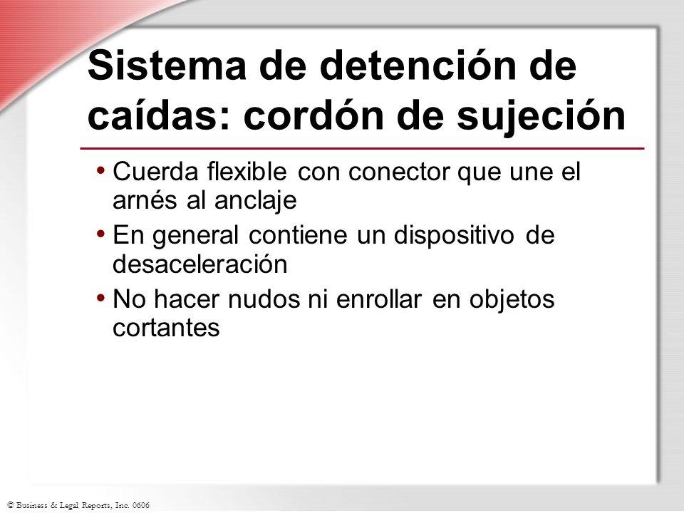 Sistema de detención de caídas: cordón de sujeción
