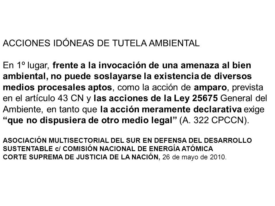 ACCIONES IDÓNEAS DE TUTELA AMBIENTAL