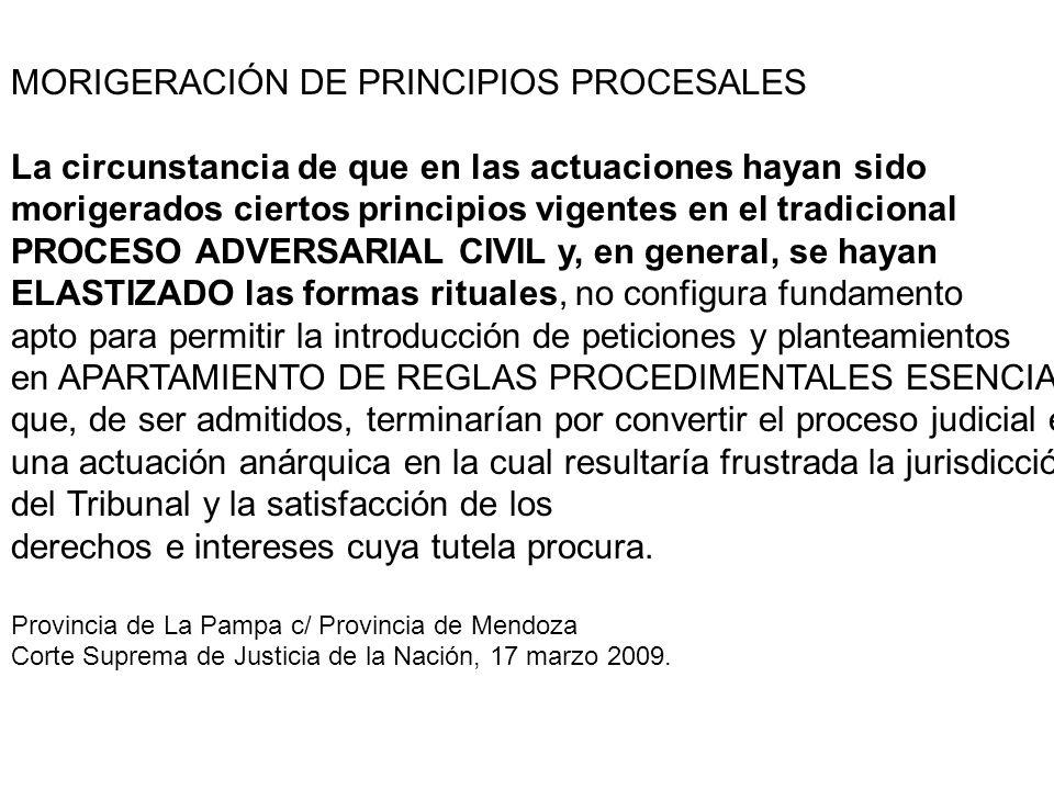 MORIGERACIÓN DE PRINCIPIOS PROCESALES