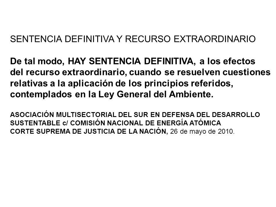 SENTENCIA DEFINITIVA Y RECURSO EXTRAORDINARIO