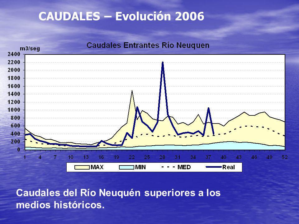 CAUDALES – Evolución 2006 Caudales del Río Neuquén superiores a los medios históricos.