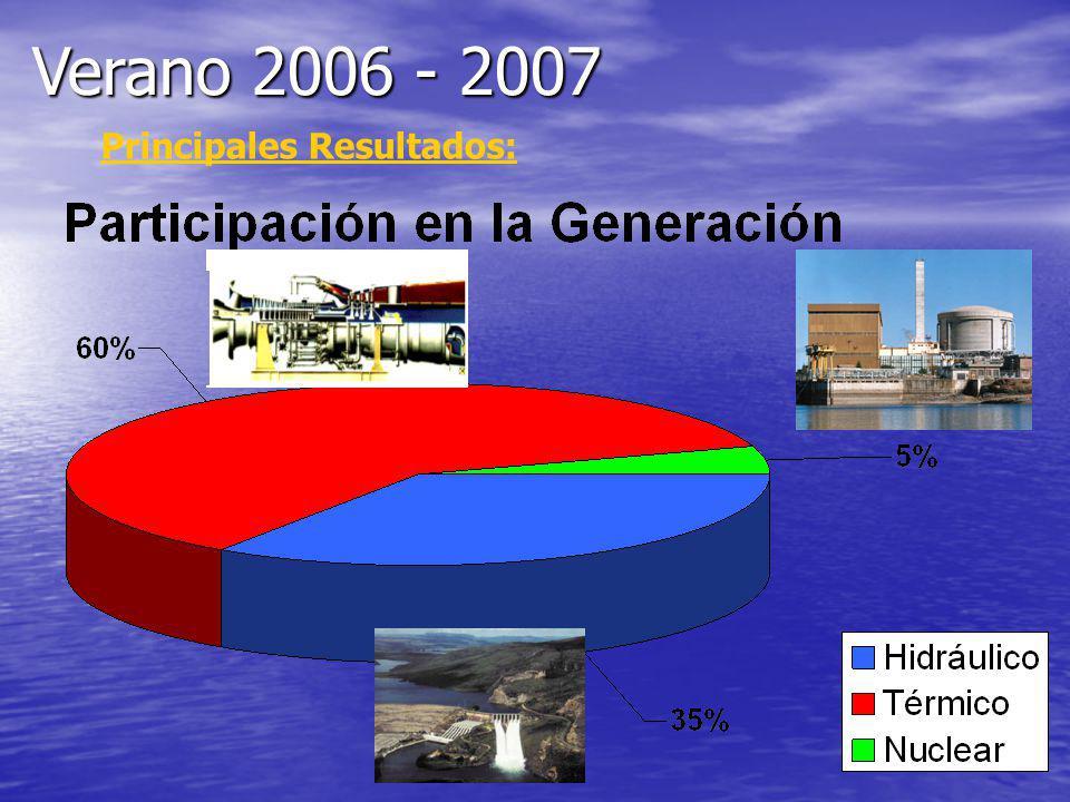Verano 2006 - 2007 Principales Resultados: