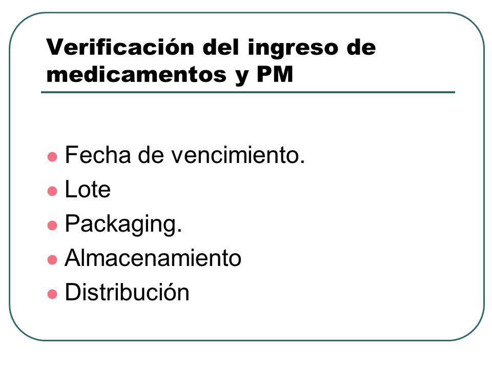 Verificación del ingreso de medicamentos y PM