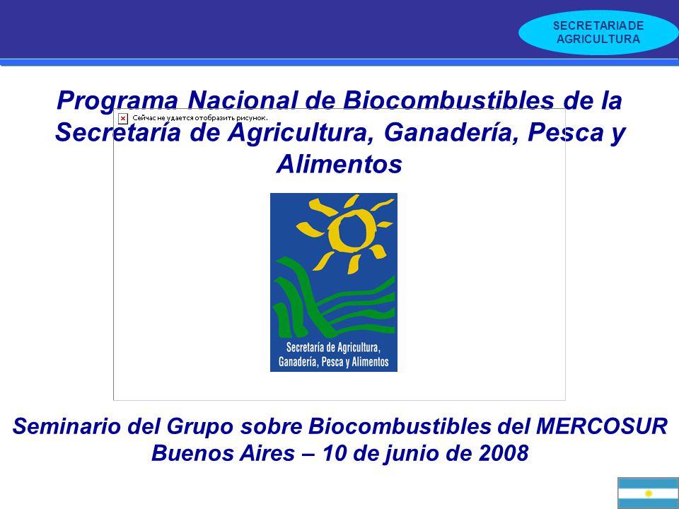 Programa Nacional de Biocombustibles de la Secretaría de Agricultura, Ganadería, Pesca y Alimentos