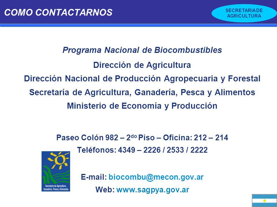 COMO CONTACTARNOS Programa Nacional de Biocombustibles