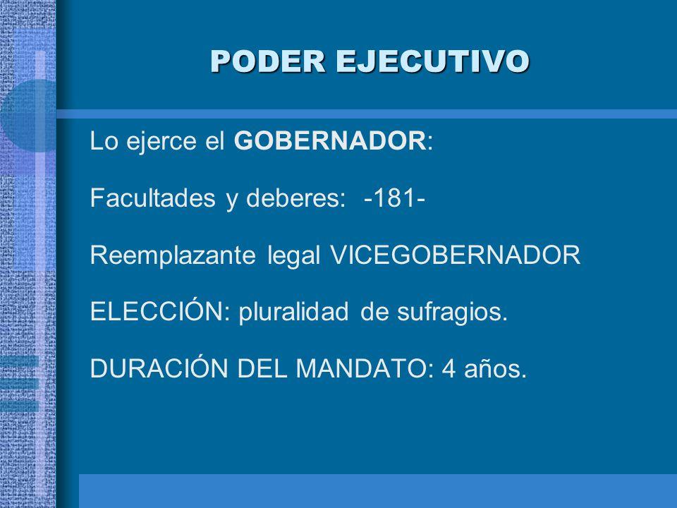 PODER EJECUTIVO Lo ejerce el GOBERNADOR: Facultades y deberes: -181-