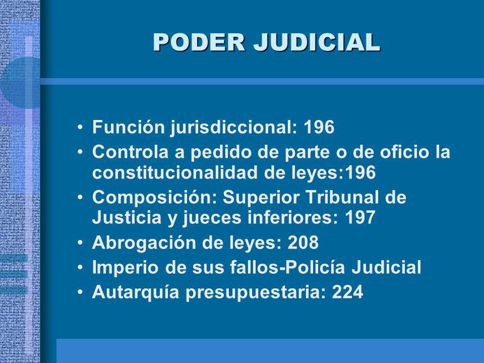PODER JUDICIAL Función jurisdiccional: 196