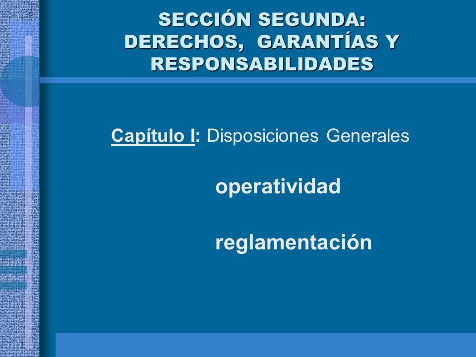 SECCIÓN SEGUNDA: DERECHOS, GARANTÍAS Y RESPONSABILIDADES