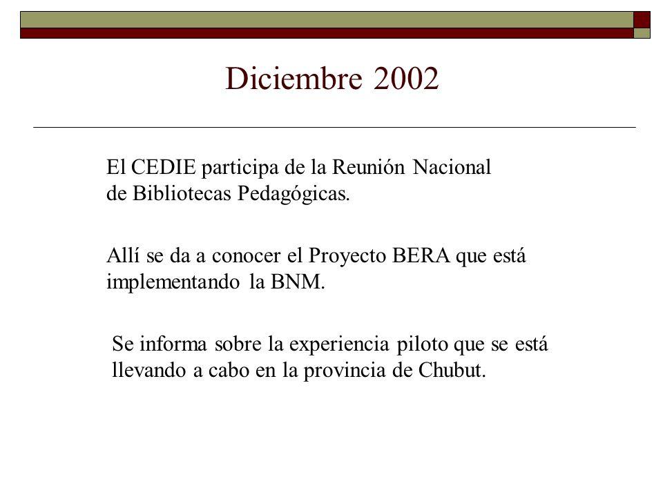 Diciembre 2002 El CEDIE participa de la Reunión Nacional de Bibliotecas Pedagógicas.