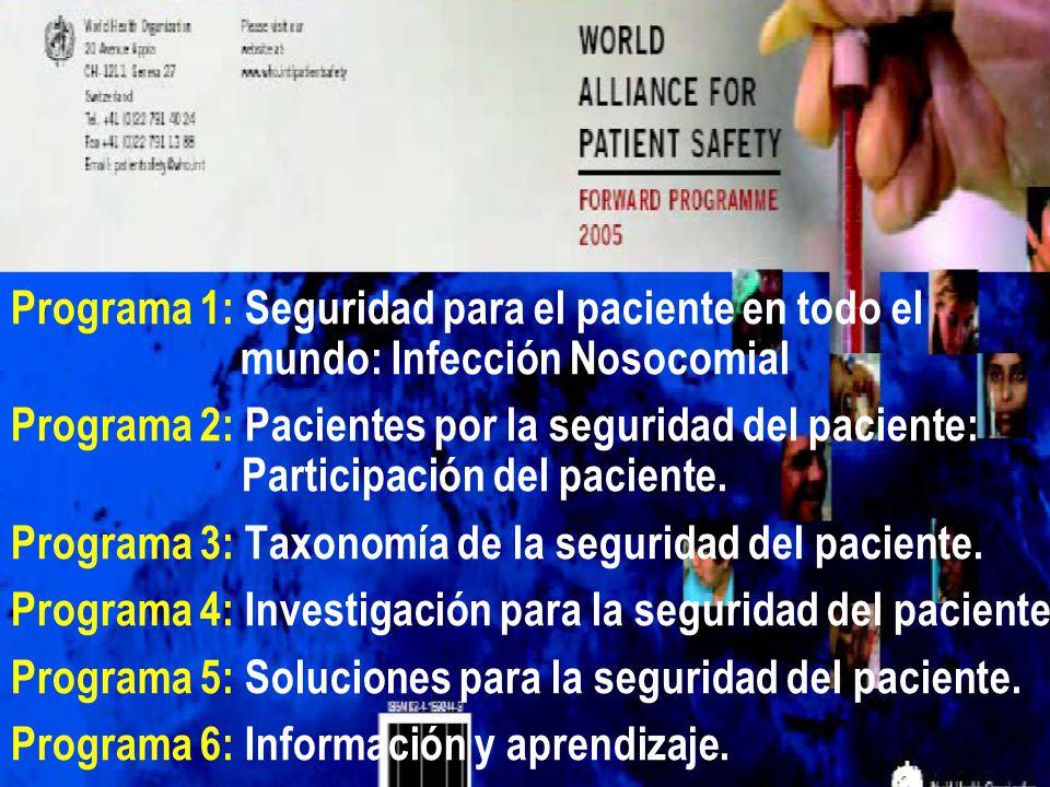Programa 1: Seguridad para el paciente en todo el