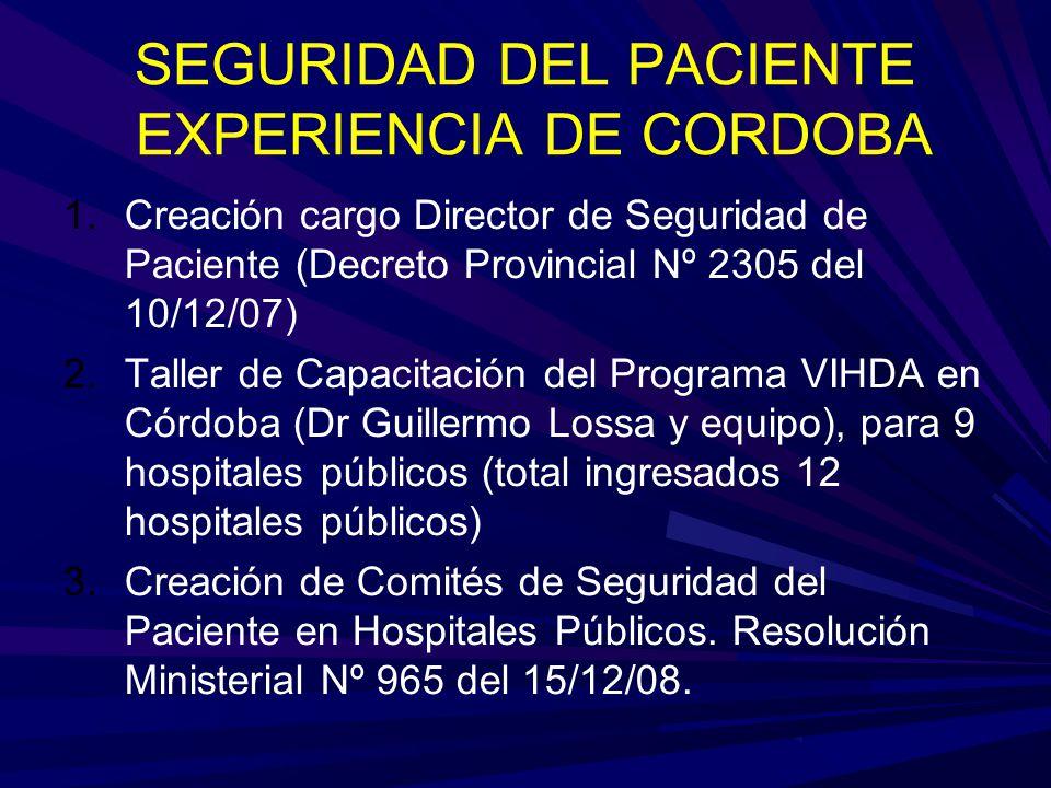 SEGURIDAD DEL PACIENTE EXPERIENCIA DE CORDOBA