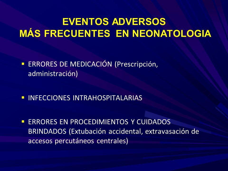 EVENTOS ADVERSOS MÁS FRECUENTES EN NEONATOLOGIA
