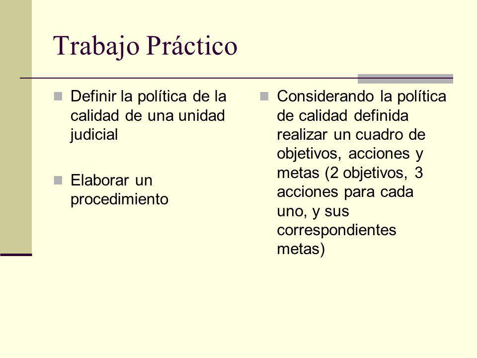 Trabajo Práctico Definir la política de la calidad de una unidad judicial. Elaborar un procedimiento.