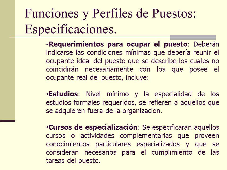 Funciones y Perfiles de Puestos: Especificaciones.