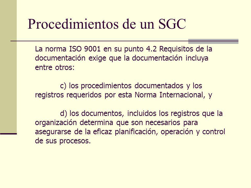 Procedimientos de un SGC