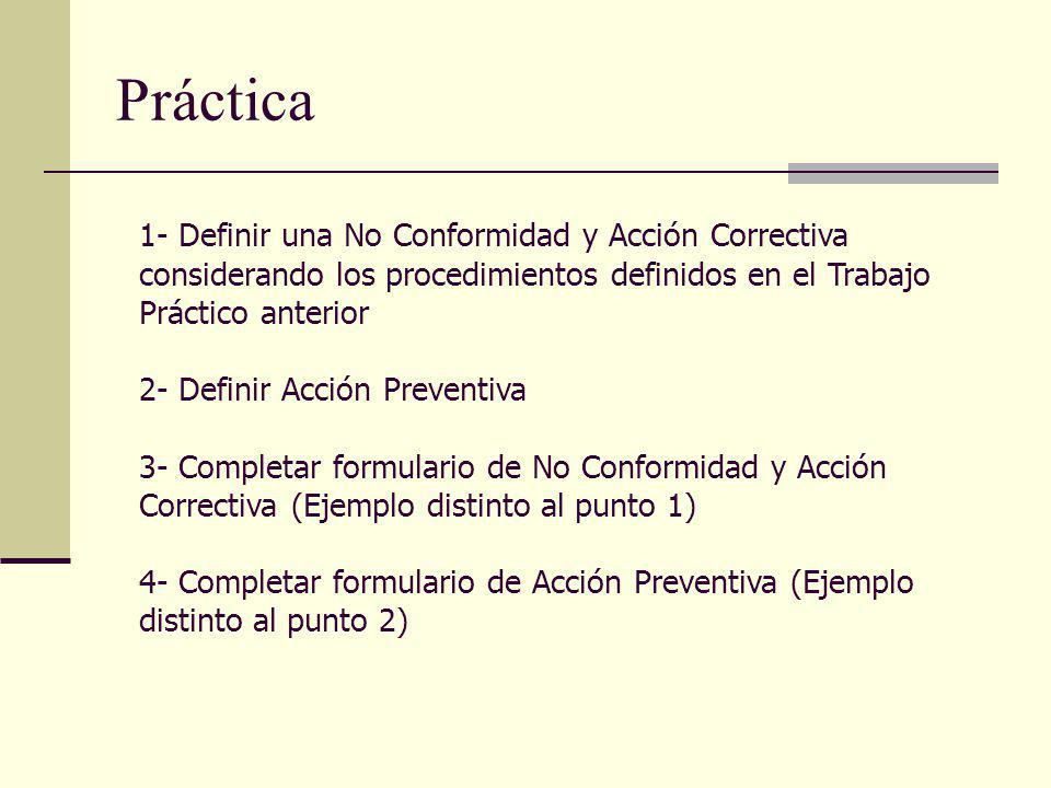 Práctica 1- Definir una No Conformidad y Acción Correctiva considerando los procedimientos definidos en el Trabajo Práctico anterior.