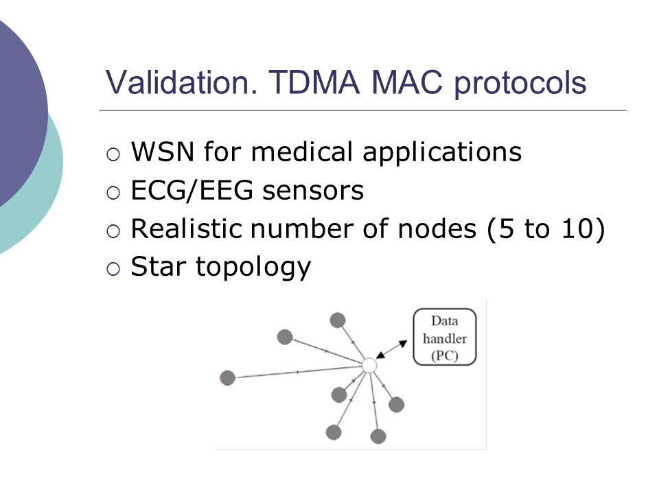 Validation. TDMA MAC protocols