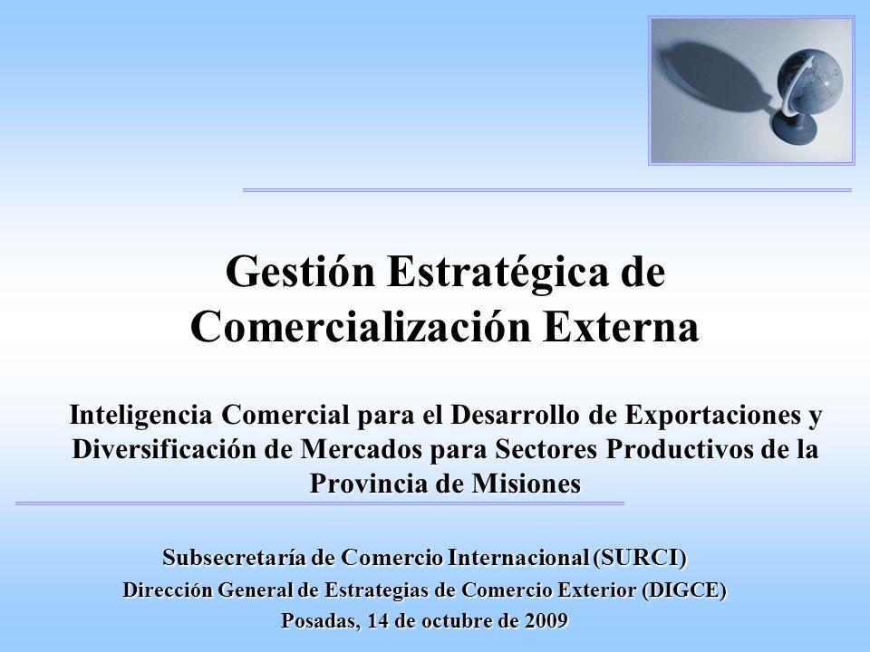 Gestión Estratégica de Comercialización Externa Inteligencia Comercial para el Desarrollo de Exportaciones y Diversificación de Mercados para Sectores Productivos de la Provincia de Misiones