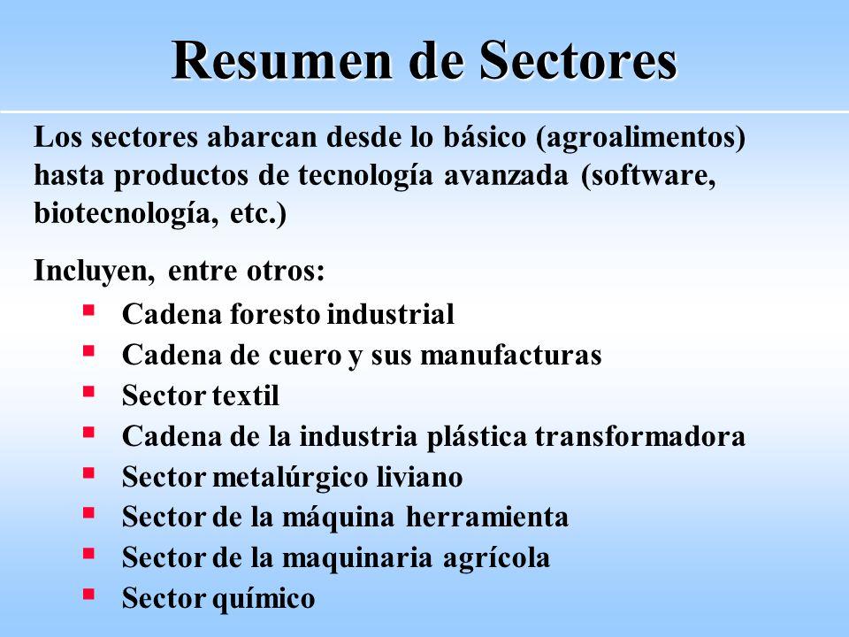 Resumen de Sectores Los sectores abarcan desde lo básico (agroalimentos) hasta productos de tecnología avanzada (software, biotecnología, etc.)