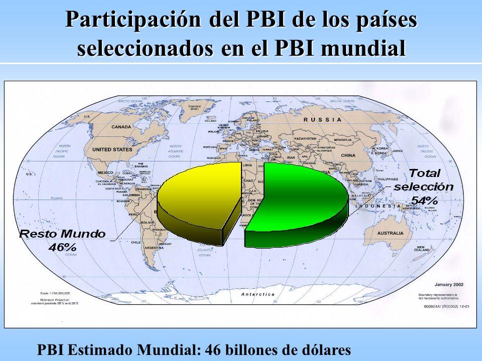 Participación del PBI de los países seleccionados en el PBI mundial