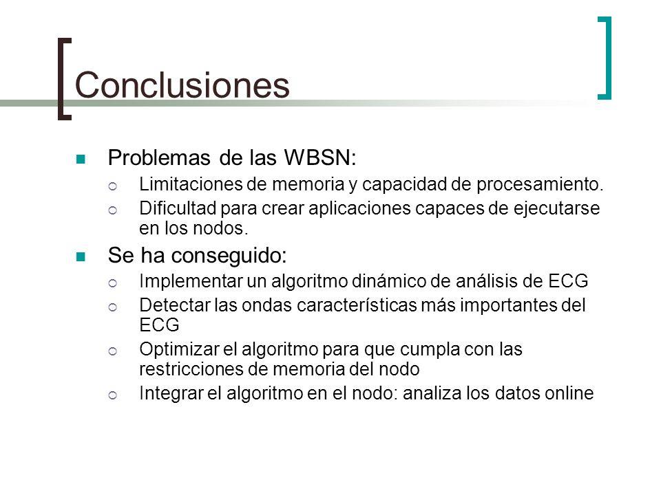Conclusiones Problemas de las WBSN: Se ha conseguido: