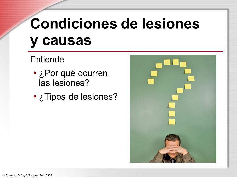 Condiciones de lesiones y causas