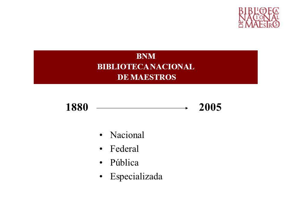 1880 2005 Nacional Federal Pública Especializada BNM