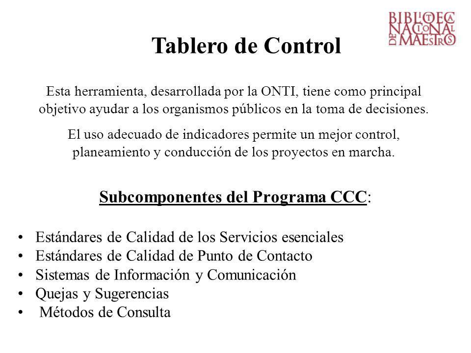 Subcomponentes del Programa CCC: