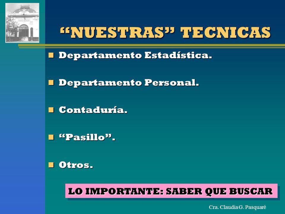 NUESTRAS TECNICAS Departamento Estadística. Departamento Personal.