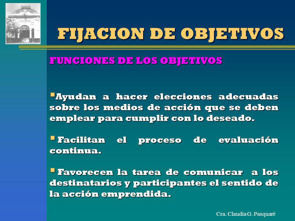 FIJACION DE OBJETIVOS FUNCIONES DE LOS OBJETIVOS