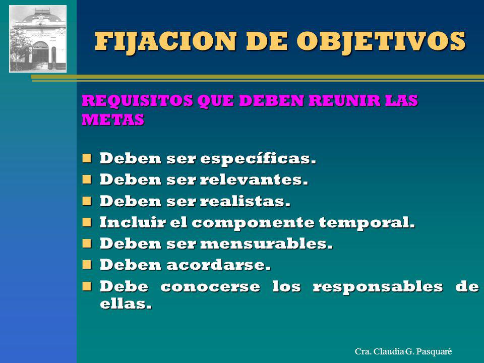FIJACION DE OBJETIVOS REQUISITOS QUE DEBEN REUNIR LAS METAS