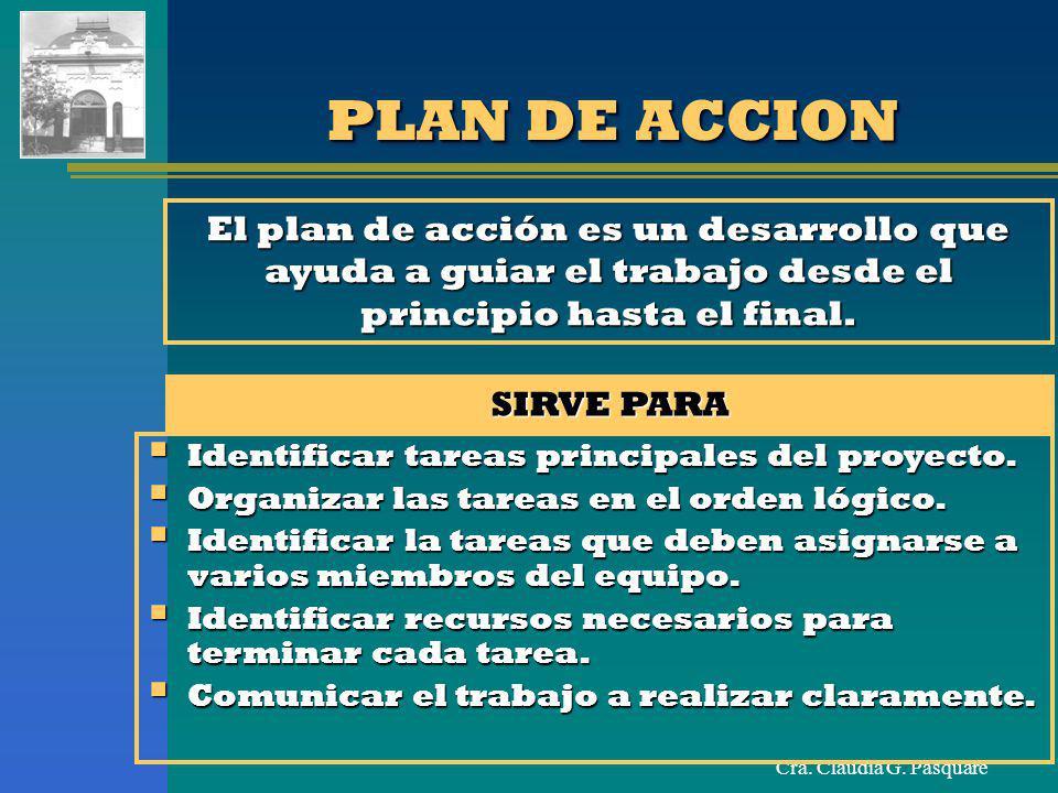 PLAN DE ACCION El plan de acción es un desarrollo que ayuda a guiar el trabajo desde el principio hasta el final.