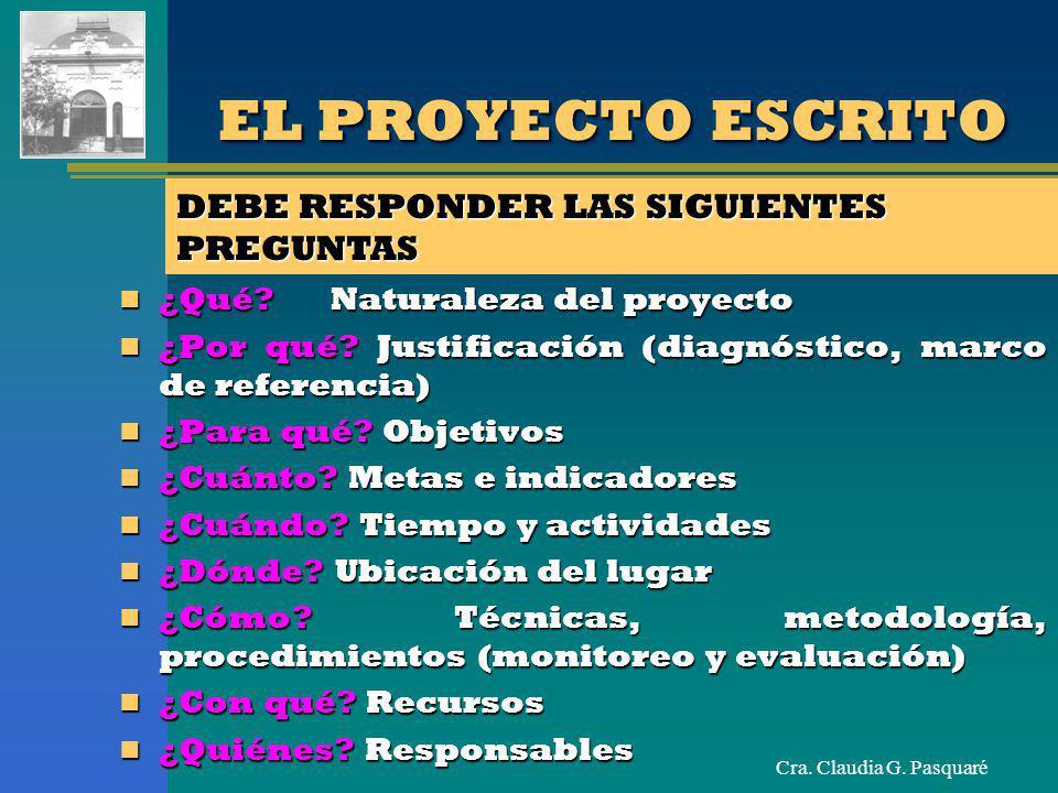 EL PROYECTO ESCRITO DEBE RESPONDER LAS SIGUIENTES PREGUNTAS