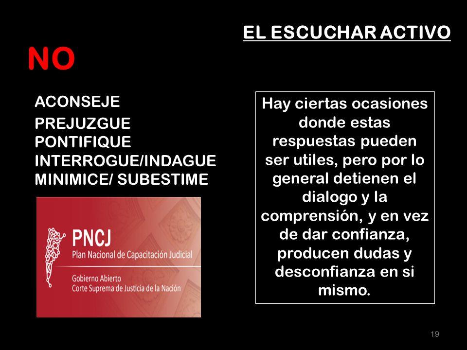 NO ACONSEJE EL ESCUCHAR ACTIVO PREJUZGUE PONTIFIQUE INTERROGUE/INDAGUE