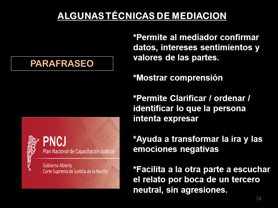 ALGUNAS TÉCNICAS DE MEDIACION