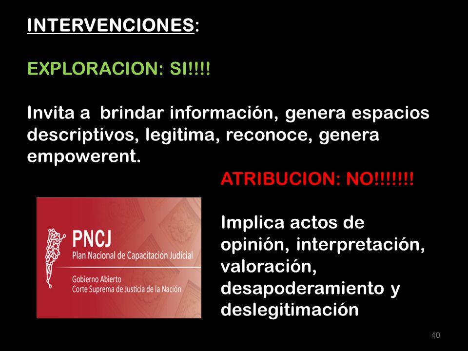 INTERVENCIONES: EXPLORACION: SI!!!! Invita a brindar información, genera espacios descriptivos, legitima, reconoce, genera empowerent.