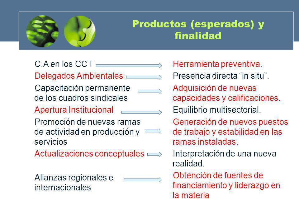 Productos (esperados) y finalidad