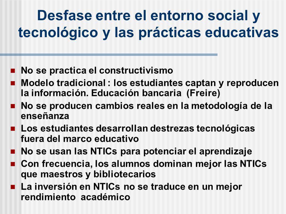 Desfase entre el entorno social y tecnológico y las prácticas educativas
